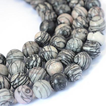 Natural Black Silk Stone/Netstone Round Bead StrandsG-E334-6mm-05-1