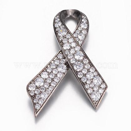 Brass Cubic Zirconia Safety Brooch JEWB-N0002-002B-1
