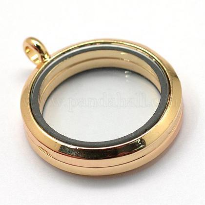 Vidrio plano aleación redonda marco de fotos magnético flotante memoria viva colgantes medallónPALLOY-S046-01KC-1