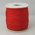 Nylon Thread, Round, Chinese Knotting Cord, Beading String, for Bracelet Making, Red, 1.5mm; about 140yards/roll