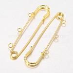 Iron Kilt Pins Brooch Findings, Golden, 75mm, Hole: 3mm