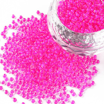 Cuentas de semillas de vidrio transparente fgb 11/0, color en el interior, camelia, 2.3x1.5mm, agujero: 1 mm, aproximamente 5300 unidades / 50 g