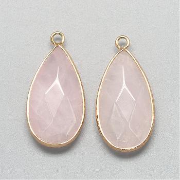 Природного розового кварца подвески, с фурнитурой латунной золотого тона, граненые, слеза, розовые, 32.5~33x16x6 мм, отверстие : 2.5 мм