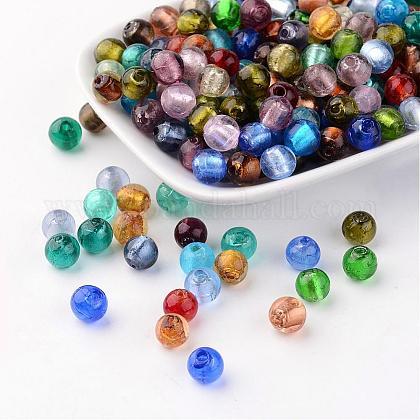 手作り銀箔ガラスビーズFOIL-R054-M-1