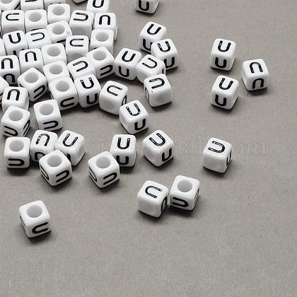 Large Hole Acrylic Letter European BeadsX-SACR-Q103-10mm-01U-1