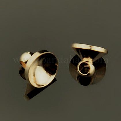 Brass Bead Cap Pendant BailsKK-E446-02-1