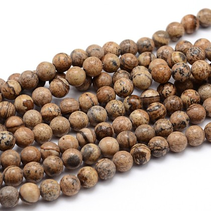 Natural Picture Jasper Round Bead Strands G-J303-08-6mm-1