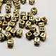 Antique Golden Plated Large Hole Acrylic Alphabet European BeadsPACR-Q099-M02-2
