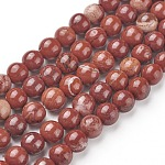 Natural Red Jasper Beads Strands, Round, Grade AB, Red, 6mm, Hole: 1mm; about 65pcs/strand, 15.5