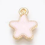 Alloy Enamel Charms, Star, Light Gold, MistyRose, 15x11.5x1.5mm, Hole: 1.5mm