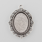 Tibetan Style Antique Silver Alloy Flat Oval Pendant Cabochon Settings, Antique Silver, Tray: 25x18mm; 40x30x2mm, Hole: 2mm; about 260pcs/1000g