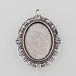 Cabochon bases plana colgante oval de aleación de plata antigua de estilo tibetano, sin plomo y cadmio, plata antigua, Bandeja: 25x18 mm, 40x30x2 mm, Agujero: 2 mm, aproximamente 260 unidades / 1000 g
