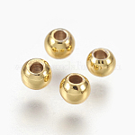 Brass Spacer Beads, Long-Lasting Plated, Round, Golden, 3x2mm, Hole: 1.2mm