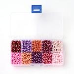 Разноцветные стеклянные жемчужные бусины круглые, окрашенные, разноцветные, 4 мм, отверстия: 1 мм; около 1500 шт / коробка