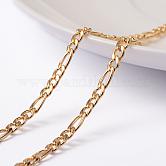 Chapado al vacío 304 cadenas de figaro de acero inoxidable, sin soldar, con carrete, dorado, 4x3x0.8 mm y 6.5x3x0.8 mm; aproximadamente 10 m / rollo