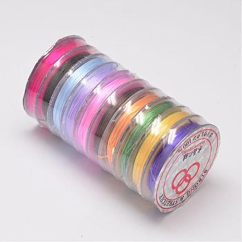 Flat Elastic Crystal String, Elastic Beading Thread, for Stretch Bracelet Making, Colorful, 0.8mm; 10m/roll