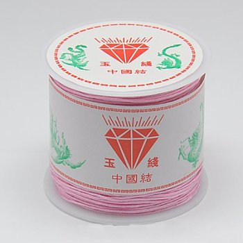 Nylon Cord for Jewelry Making, Pink, 0.8mm; about 45m/roll