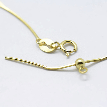 Golden 925 Sterling Silver Chain Necklace Making, with Spring Ring Clasps, Carved 925, Golden, 18 inches(45cm); Hole: 2mm; Pin: 0.8mm