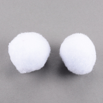 DIY Doll Craft Pom Pom Yarn, Pom Pom Balls, White, 40mm, about 200pcs/bag
