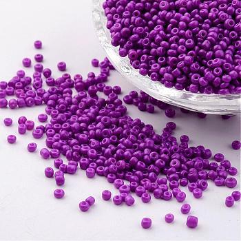 12/0 1.5~2mm perlas de semillas de vidrio de pintura para hornear perlas espaciadoras sueltas, agujero violeta oscuro: 0.5~1 mm, aproximamente 2890 unidades / 50 g