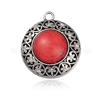 Tibetan Style Alloy Resin Big Pendants PALLOY-J133-05AS-1
