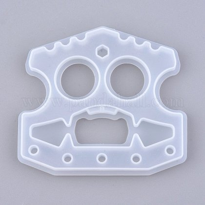 Self Defense Silicone Molds, Resin Casting Molds, Self Defense Finger Weapons Monster Keychains Molds, Clear, 78x87x7mm, Hole: 5~7mm, Inner Diameter: 72x81mm DIY-I036-17