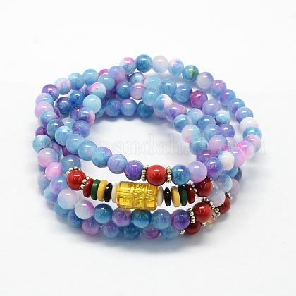 4-Loop Wrap Buddha Meditation White Jade Beaded BraceletsX-BJEW-R039-17-1