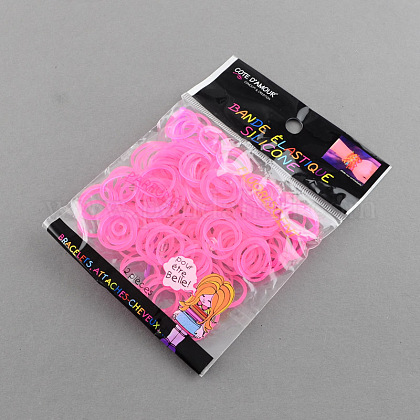 Fluorescent Neon Color Rubber Loom Bands Refills with AccessoriesX-DIY-R006-04-1