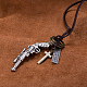 Adjustable Men's Zinc Alloy Pendant and Leather Cord Lariat Necklaces NJEW-BB16008-A-5