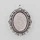 Tibetan Style Antique Silver Alloy Flat Oval Pendant Cabochon SettingsTIBEP-M022-20AS-1