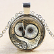 Owl Pattern Flat Round Glass Pendant Necklaces NJEW-N0051-055E-02-1