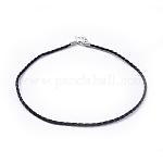Imitation Leather Necklace Cord, Black, Platinum Color, 3mm in diameter, 17