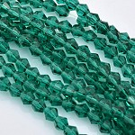 Chapelets de perles en verre à facettes bicone, sarcelle, 3x3mm, trou: 1mm; environ 150 pcs/chapelet, 13.8