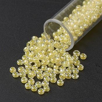 Cuentas de semillas de vidrio transparente fgb 11/0, color en el interior, lustre chapado, redondo, gasa de limón, 2.3x1.5mm, agujero: 1 mm, aproximamente 5300 unidades / 50 g