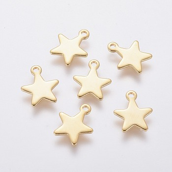 304 Stainless Steel Charms, Star, Golden, 10x8x0.8mm, Hole: 1mm