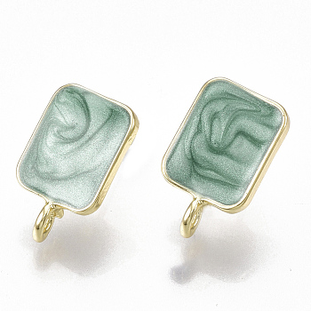 Alloy Enamel Stud Earring Findings, with Loop and Steel Pin, Rectangle, Light Gold, Dark Cyan, 18x10.5mm, Hole: 2mm; Pin: 0.7mm