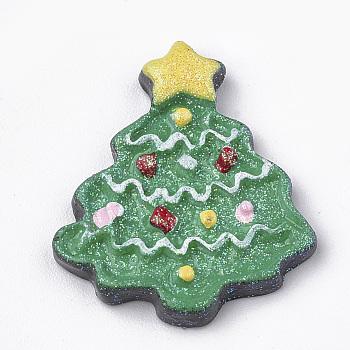 Cabuchones de resina opacos, con polvo de brillo, árboles de navidad, verde, 24.5x21x3mm