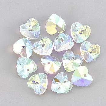 Стеклянные украшения из горного хрусталя, сердце, хрусталь AB, 14x14x7.5 мм, отверстие : 1.6 мм