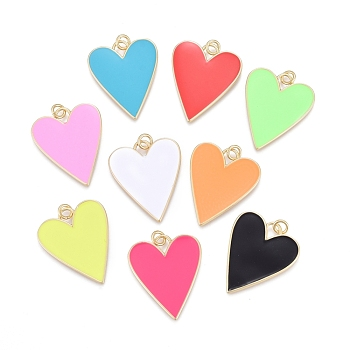 Brass Enamel Pendants, Real 18K Gold Plated, Long-Lasting Plated, Heart, Mixed Color, 27x22x2mm, Hole: 3mm; jump rings: 5x1mm