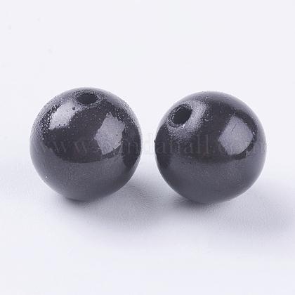 Black Bead in Bead Spray Painted Acrylic BeadsX-PB9286-15-1