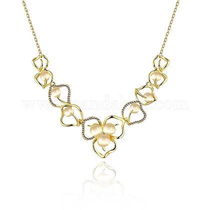 Collares de babero de flor de circonio cúbico de aleación de estaño chapado en oro real de 18kNJEW-BB02514-G-1