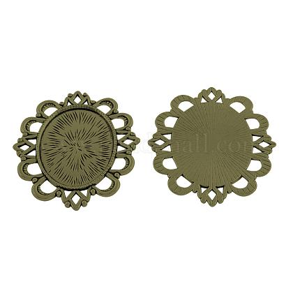 チベットスタイル合金オーバルトレイカボションセッティングTIBEP-5433-AB-LF-1