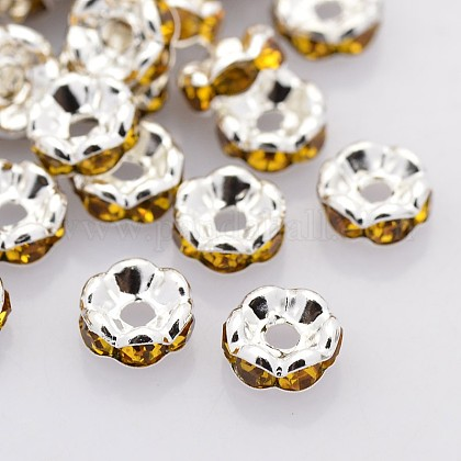 Brass Rhinestone Spacer BeadsRB-A014-L6mm-17S-NF-1