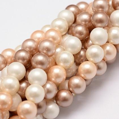 Hilos de perlas de concha pulidaX-BSHE-F013-07B-1