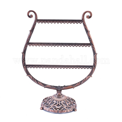 Alloy Harp Shaped Earring Organizer Holder, Jewelry Display Stand, Heart Holes, Red Copper, 130x245x310mm, hole: 3x3mm EDIS-K002-04R