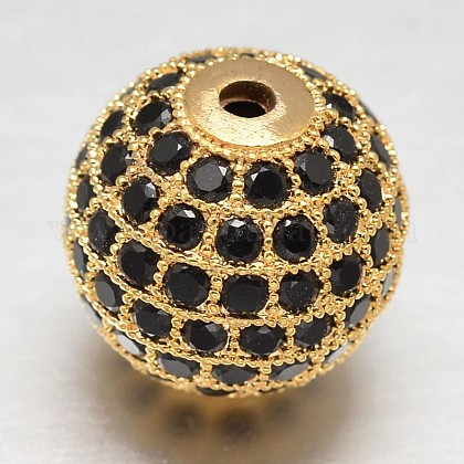 CZ abalorios redondas de latón micro pave circonio cúbicoX-ZIRC-L017-14mm-06G-1