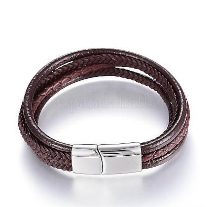 Cordón de cuero pulseras de varias vueltasBJEW-K141-29B-1