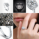 Real Platinum Plated Environmental Brass AAA Square Cubic Zirconia Engagement RingRJEW-AA00201-8#-P-4