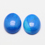 Cabochons turquesas naturales, teñido, oval, azul, 14x10x4.5mm