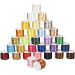 JEWELEADER 30 Rolls About 328 Yards Satin Nylon Jewellery Cord 2mm Rattail Chinese Knotting Cord Shamballa Macrame Thread Beading String Mixed Color for DIY Craft Making Kumihimo Friendship Bracelets